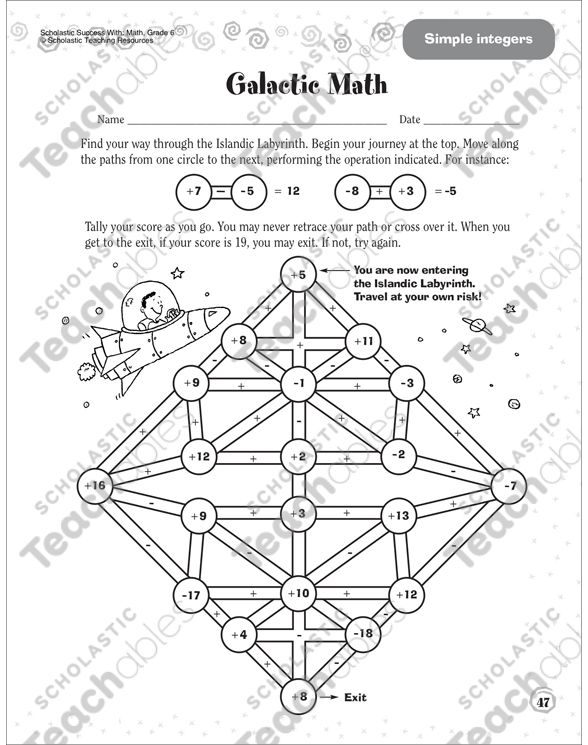 Galactic Math Simple Integers Scholastic Success With Math – Scholastic Math Worksheets