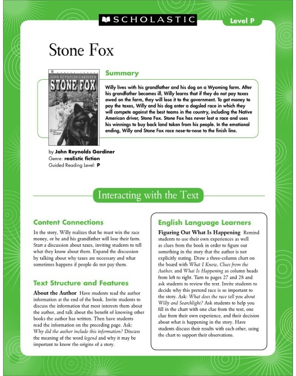 Guided Reading Level P Stone Fox Teaching Card by – Stone Fox Worksheets