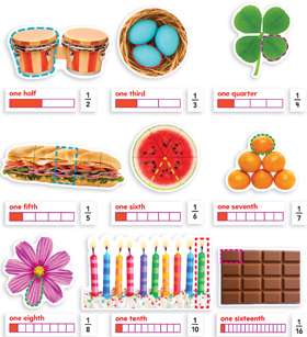 Fractions in Photos Mini Bulletin Board 9780545530934