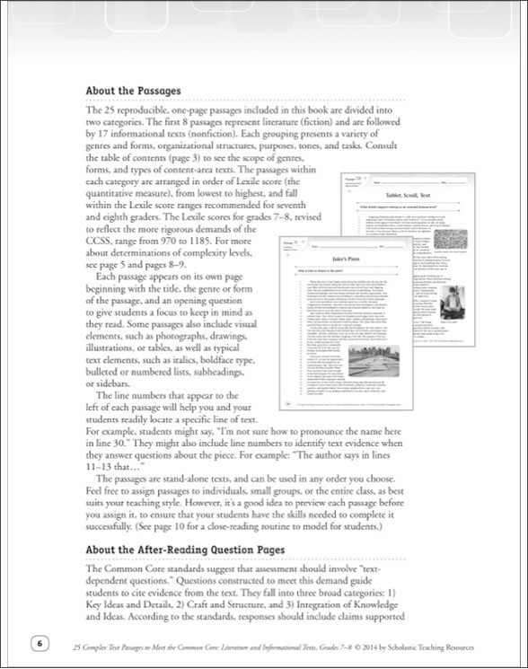 25 complex text passages to meet the common core literature and 25 complex text passages to meet the common core literature and informational texts grades 782118 fandeluxe Gallery