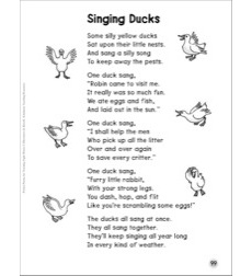 Singing Ducks Words With Short Vowel Sounds Sight Words Poem By