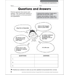 questions and answers punctuation capitalization grammar practice page grades