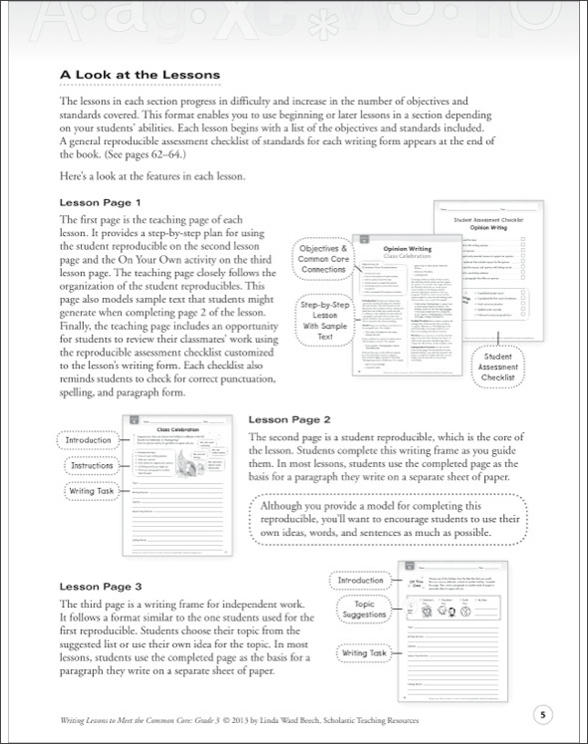 Writing Lessons To Meet the Common Core: Grade 3 by Linda Ward Beech