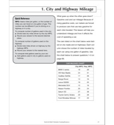 City and Highway Mileage: Life Skills Practice (Math)