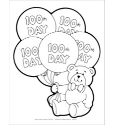 100th Day of School Bear Reproducible Pattern