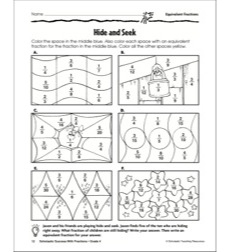 Hide and Seek (Equivalent Fractions): Scholastic Success With Fractions (Grade 4)