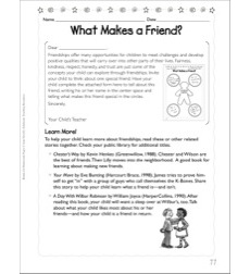 What Makes a Friend? (Friendship): Social Studies Homework Page