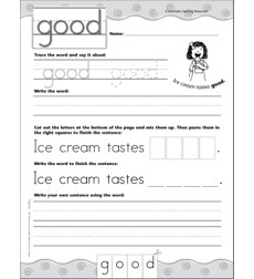 Interactive Practice Page (Sight Word: Good): Write-and-Learn Practice Page