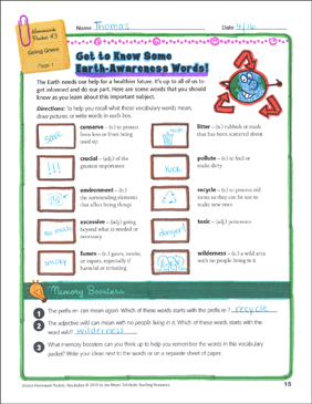 Going Green (environmental words): Vocabulary Homework Packet