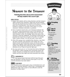Measure to the Treasure (Direction and measurement activity): Measurement Activity