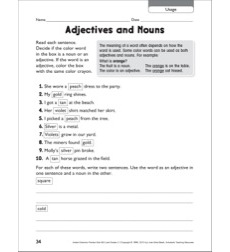 Adjectives and Nouns (Usage): Grammar Practice Page
