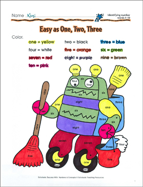 Easy as One, Two, Three (Identifying Number Words 1-20): Scholastic Success With Numbers & Concepts (Grade PreK)