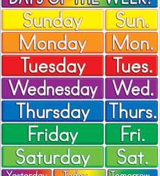 Days of the Week! Chart