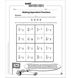 Sudoku Puzzle: Making Equivalent Fractions