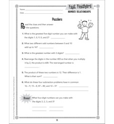Puzzlers (Number Relationships): Fast Finishers - Grades 2-3
