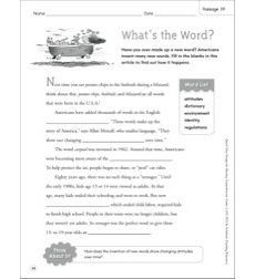 What's the Word?: Quick Cloze Passage (Grades 4-6)