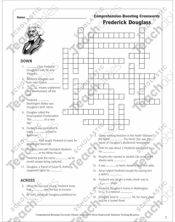 Frederick Douglass Nonfiction Passage Crossword Puzzle By - Us map crosswords scholastic professional books answers
