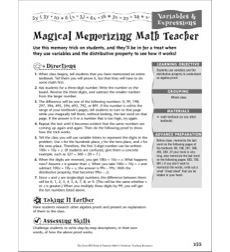 Variables & Expressions: Magical Memorizing Math Teacher