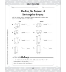 Geometry/Finding the Volume of Rectangular Prisms: Solve & Match Math (Grades 4-6 Practice Page)