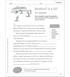 Baseball Is a Hit in Japan: Quick Cloze Passage (Grades 4-6)