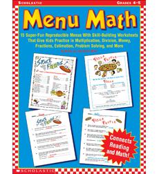 math worksheet : product  menu math grades 4 5 : Menu Math Printable Worksheets
