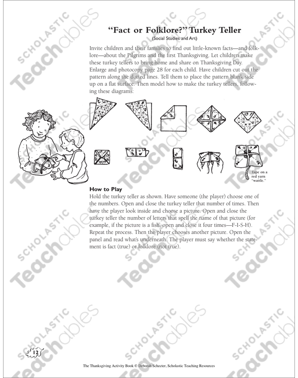 fact or folklore turkey fortune teller thanksgiving activities by