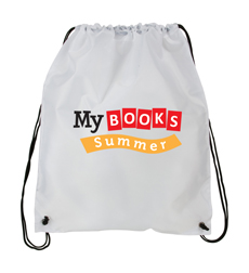 My Books Summer Drawstring Bag - White
