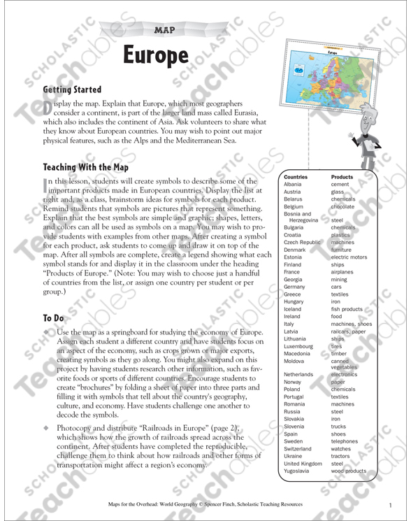Europe Reading a Political Map Map Skills  Grades 48 by