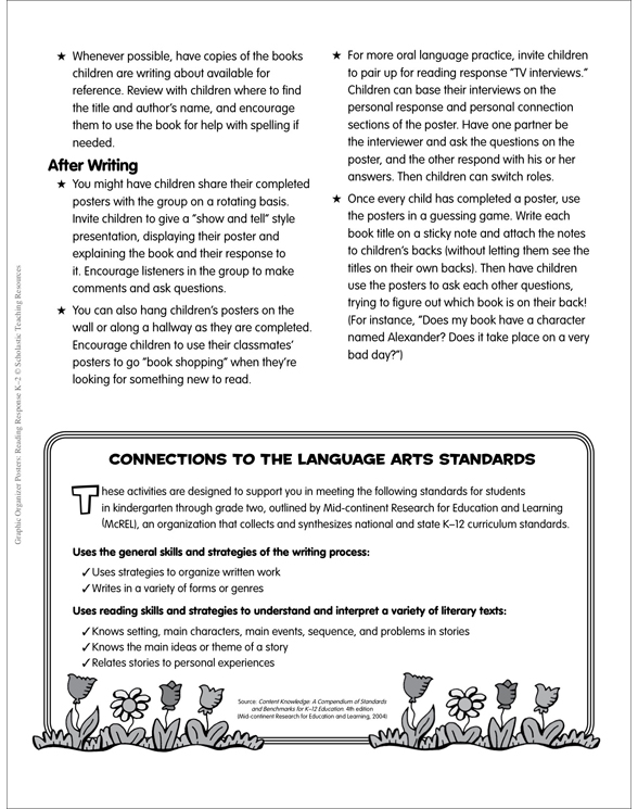 graphic organizer posters reading response grades k 2 by liza