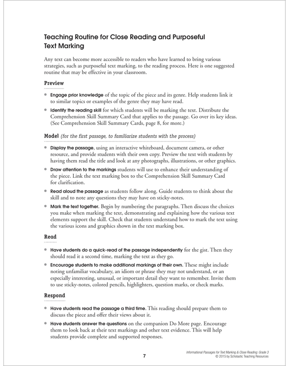 Informational Passages For Text Marking Close Reading Grade 3 By