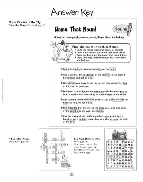 Chicken In The City Nouns Grammar Tales MiniBook Puzzles By - Us map crosswords scholastic professional books answers