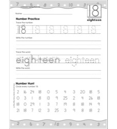 Eighteen: Writing and Recognizing Numbers: Number Practice Page