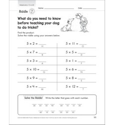 Solve-the-Riddle: Multiplication - 5's to 60