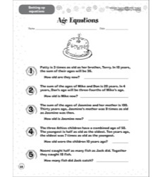Age Equations (Setting Up Equations): Scholastic Success With Math (Grade 6)