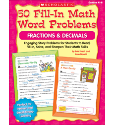 50 Fill-in Math Word Problems: Fractions & Decimals