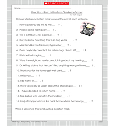 Dear Mrs. LaRue: Letters from Obedience School - Activity Sheet