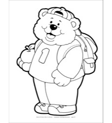 Bear With Backpack and Apple Reproducible Pattern