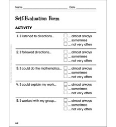 Self-Evaluation Form (Grade 1): Assessing Student Math Learning