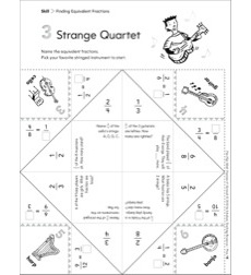 Strange Quartet (Finding Equivalent Fractions): Fun-Flap Hands-On Math Manipulative