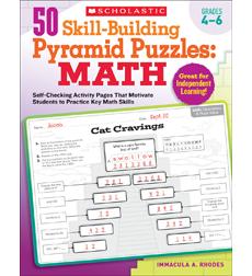 50 Skill-Building Pyramid Puzzles: Math: Grades 2?3: Self-Checking Activity Page
