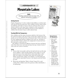 Mountain Lakes (Reading a Physical Land-Use Map): Map Skills - Grades 1-3