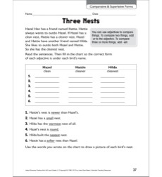Three Nests (Comparative & Superlatives Forms - Adjectives): Grammar Practice Page