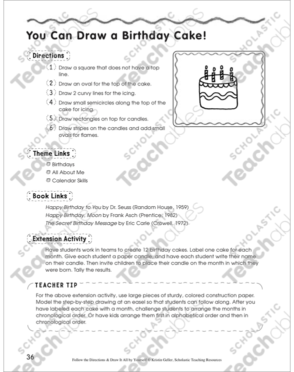Draw A Birthday Cake In 6 Steps Follow The Directions By