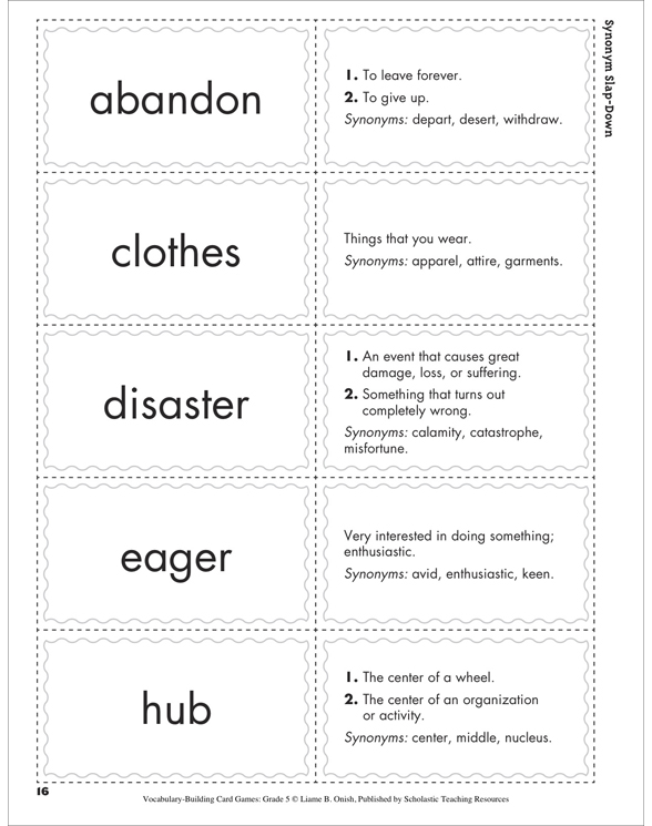 Vocabulary-Building Card Games: Grade 5 by Liane B  Onish