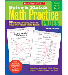 Solve & Match Math Practice Pages: Grades 2–3