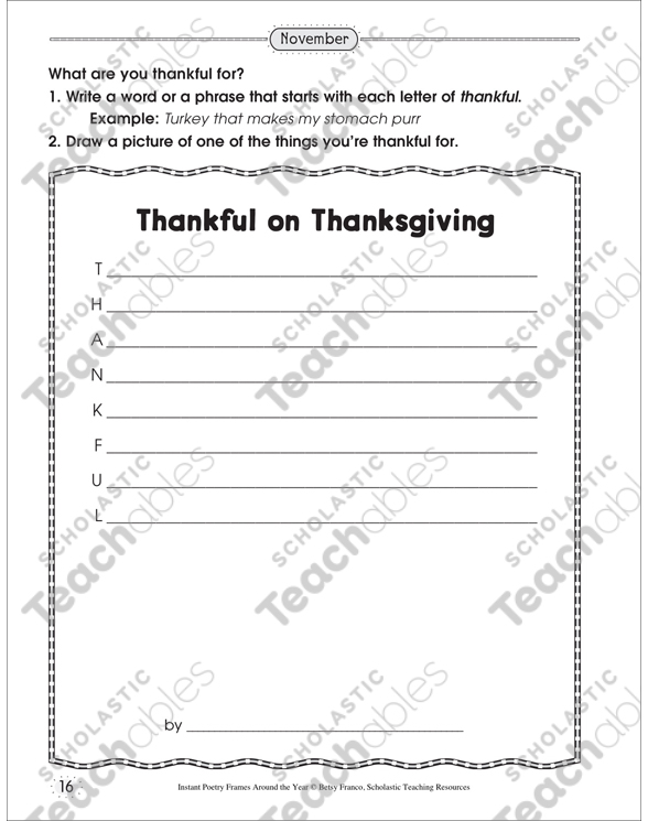 Thankful on Thanksgiving Poetry Frame: Poetry Frame by