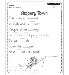 slippery town consonant blends sl phonics poetry page by. Black Bedroom Furniture Sets. Home Design Ideas