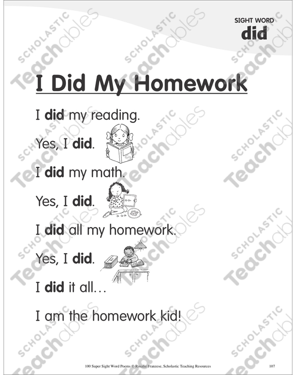 I didn't do my homework poem