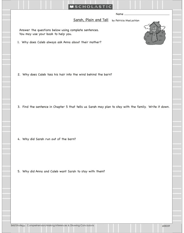 Sarah Plain and Tall by Patricia MacLachlan – Sarah Plain and Tall Worksheets