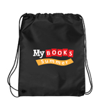 My Books Summer Drawstring Bag - Black